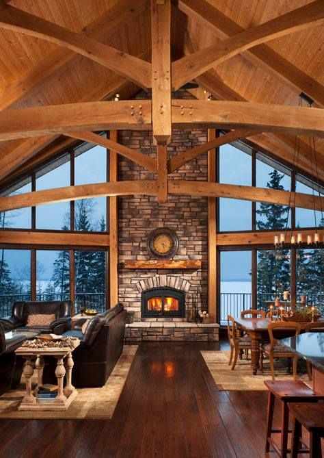 Mountain Home - Great Room including dining.Timber Home Living - Building Plans: