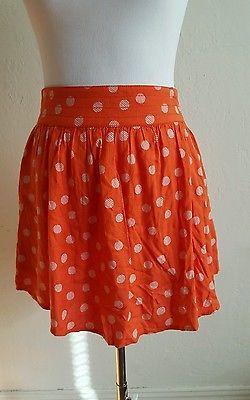 Cooperative Urban Outfitters orange polka dot skirt flirty w/ pockets sz M
