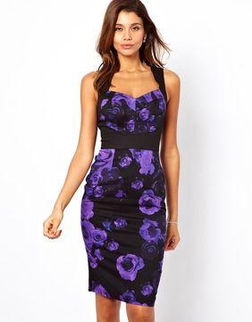 ShopStyle.com: ASOS Open Back Rose Print Pencil Dress $42.34