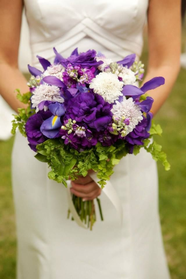 Purple And Lavender Bridal Bouquet With Greenery Accents By Glamorous Occasions