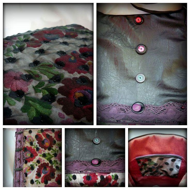 Handmade by Judy Majoros - Kalocsai Embroidery - Hungarian polka dots crossbody bag-shoulder bag. Recycled bag. Polka dots tulle-black textile leather.beaded.