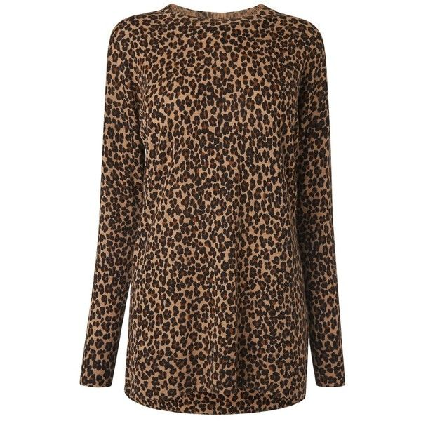 L.K. Bennett Azalea Animal Print Jumper ($190) ❤ liked on Polyvore featuring tops, sweaters, round neck sweater, brown sweater, long length sweaters, longer sweater and animal print sweaters