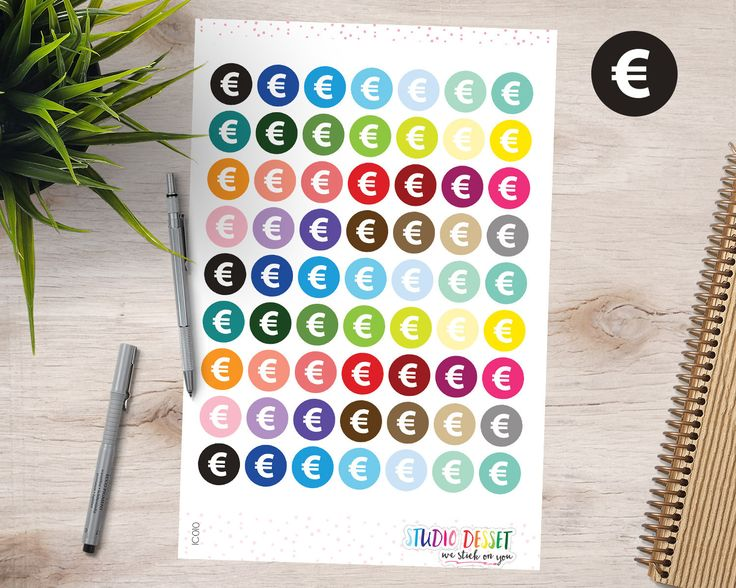 Round Money Stickers, Euro Sign Planner Stickers, Colorful Planning Stickers for Erin Condren, Happy, Mambi, Personal Planners IC010 by StudioDessetStickers on Etsy