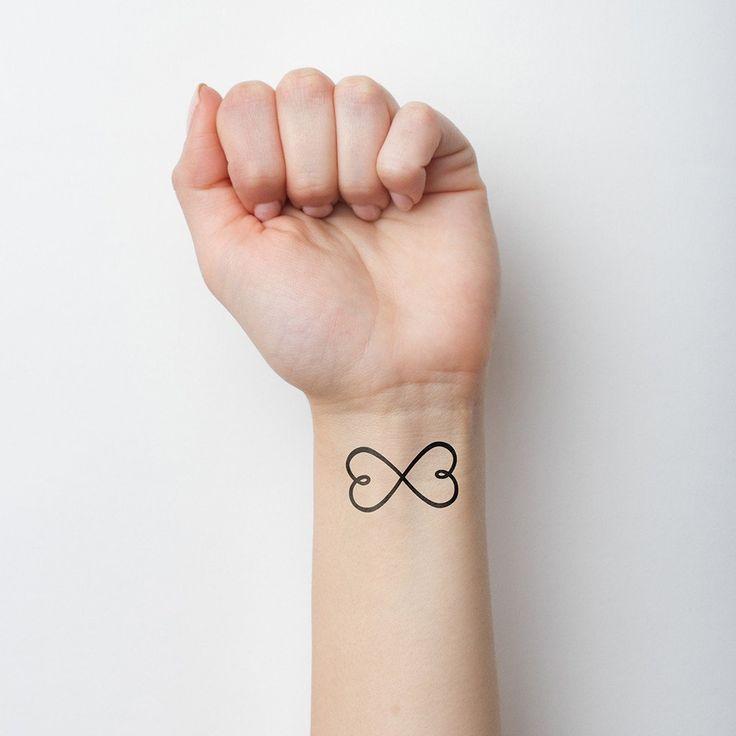 Doble corazón símbolo infinito tatuaje temporal (Set de 2)