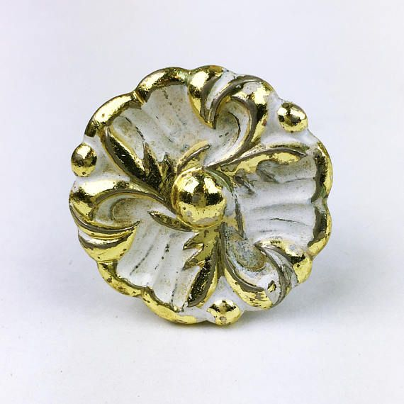 Vintage Salvaged Cabinet Draw Knob Pull floral flower Golden
