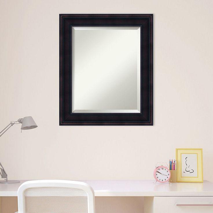 Amanti Art Small Traditional Wall Mirror, Brown