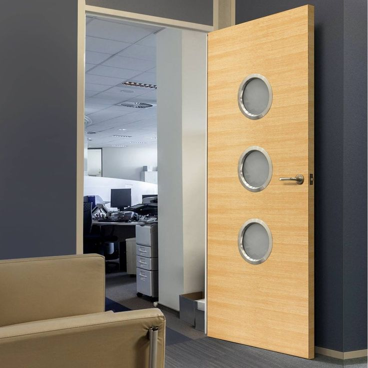 JBK Porthole 3 Eco Colour Miel Honey Oak Painted Fire Door is Pre-finished - 30 Minute Fire Rated, this door will provide good fire safety for your office. #modernofficedoor #glazedofficedoor #portholeofficedoor
