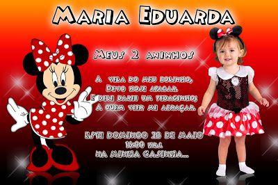 Montagem de convite infantil - Minnie Mouse