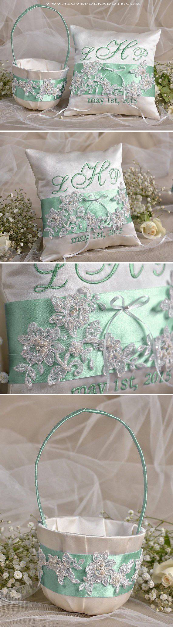 Mint Wedding Flower Girl Set : Satin Ring Bearer Pillow & Basket #mintwedding #mint #flowergirl #weddingideas