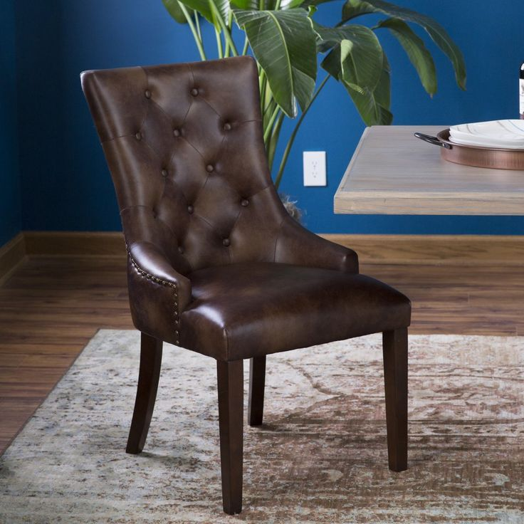 Belham Living Thomas Leather Tufted Dining Chair - Set of 2 - Your dining room…