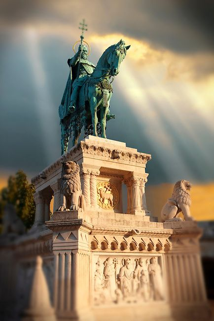 St Istvan Statue at The Fisherman's Bastion, Budapest, Hungary