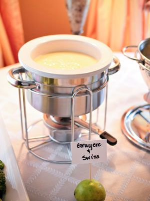 """Fondue for the menu for a bridal shower! I like it! Tooth picks and a """"cheese please"""" sign. Super Fun!"""