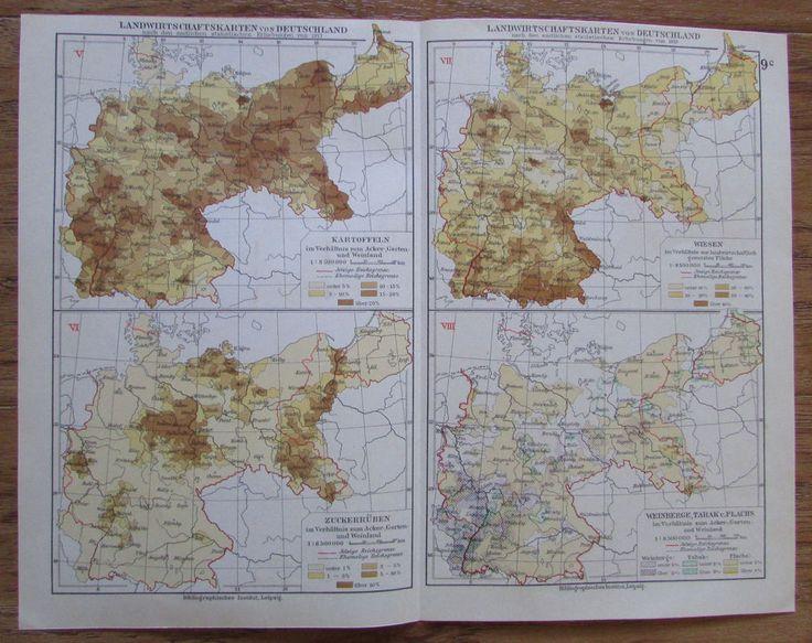 Landwirtschaftskarten von Deutschland - alte Landkarte Karte old map 1928 1