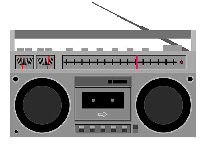 Ghetto Boombox Clip Art | Microsoft Powerpoint clip art, 1992. Cleaned up in Adobe Illustrator ...