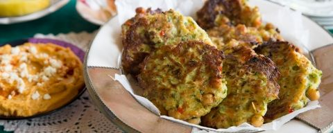 Zucchini and Chick Pea Fritters with Sweet Potato, Garlic and Feta Hummus