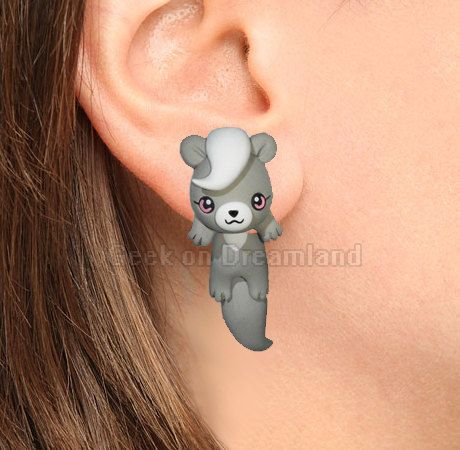 Pepper Clinging Earrings Littlest Pet Shop Grey by GeekonDreamland