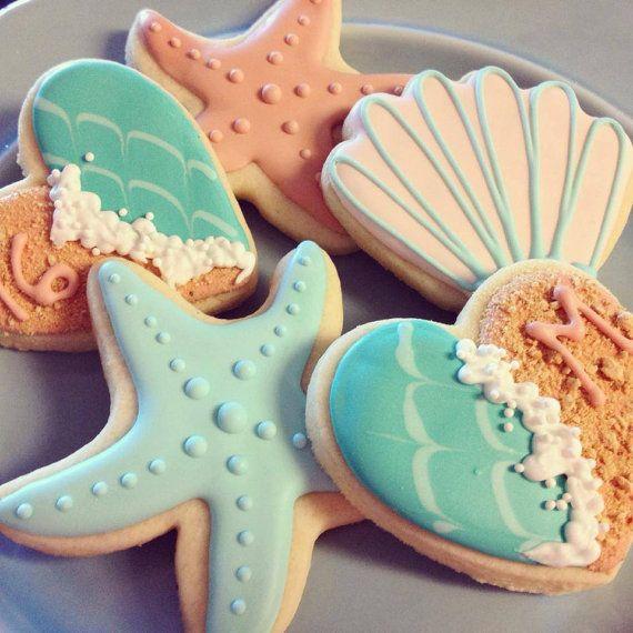 Elegant Beach Theme Cookies by AuntieBeasBakery on Etsy, $36.00
