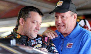 Ken Schrader (right) will make his return to the USAC Silver Crown Series driving a car co-owned by Tony Stewart (left) at Lucas Oil Raceway in Clermont, Ind., next week. (HHP/Alan Marler Photo)