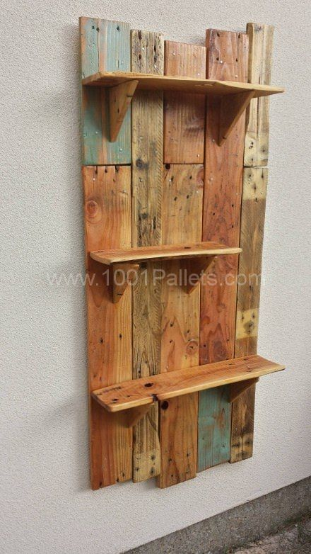Rustic hanging shelves for the garden