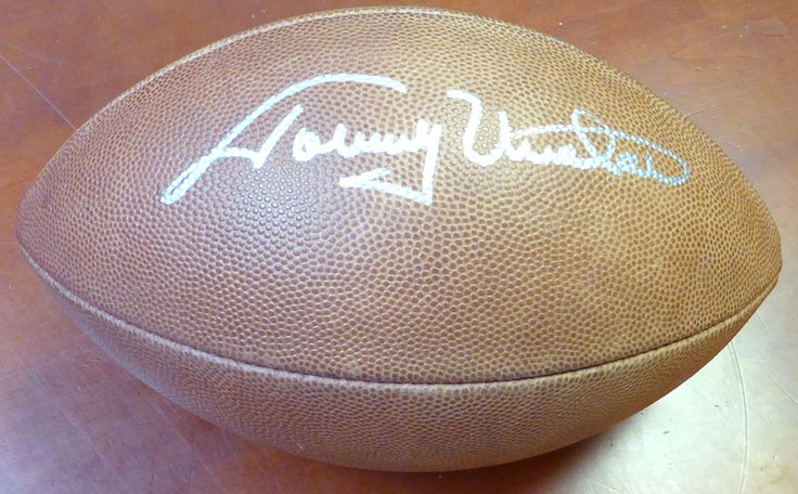 Johnny Unitas Autographed Hand Signed NFL Leather Football Baltimore Colts PSA/DNA