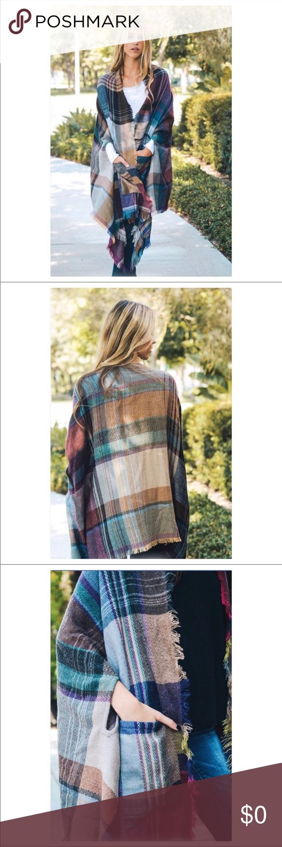 Soft Plaid Pocket Poncho Cape Easy outfit to throw together. Plus, I mean... it's a wearable blanket.  High fives all around. Swanky Coconut Jackets & Coats Capes