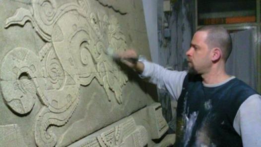 timur tekbaş mayans relief tabalkon sanat evi wall plaque art ytong