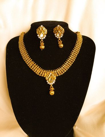 Indian Traditional Nakshi  Temple Jewellery Necklace Earring  set
