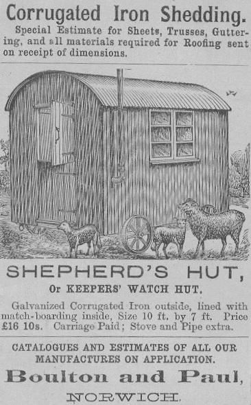 Historic Shepherd's huts information - ad from Boulton & Paul in Norwich!