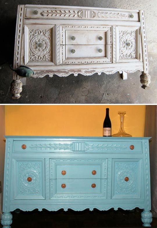 teal refinished furniture