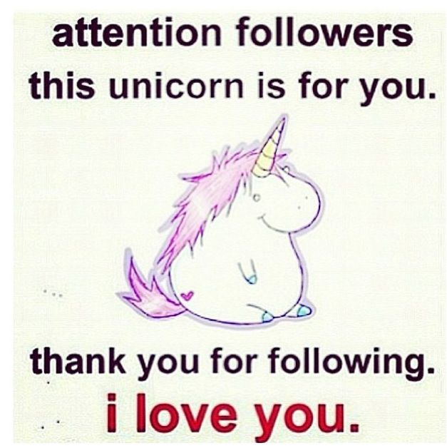 Attention followers. This unicorn is for you. Thank you for following. I love you. Follow for a follow?? Pretty please...love you guys