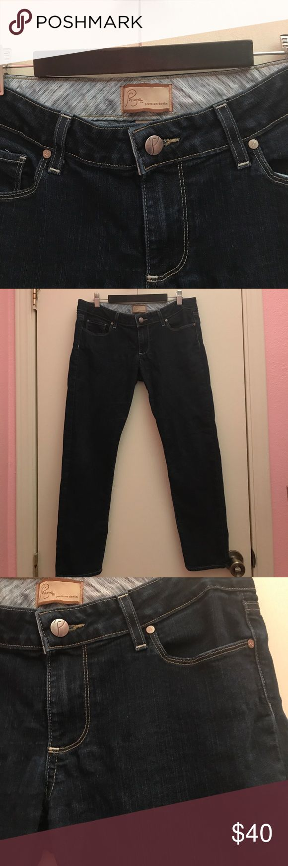 Paige premium denim bottoms Paige premium denim Roxbury Crop. Over all in excellent condition no stains or holes. There is some minor stretching near the crotch area, but it doesn't affect the overall wear. The inseam is approximately 26 inches. Paige Jeans Jeans Ankle & Cropped
