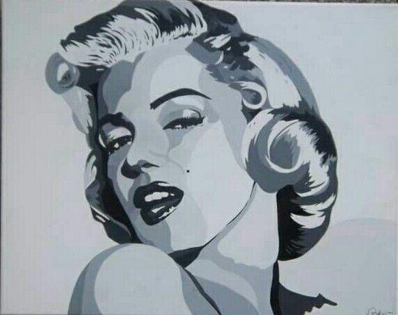 #Portrait  #MarilynMonroe #canvas  #blackandwhite