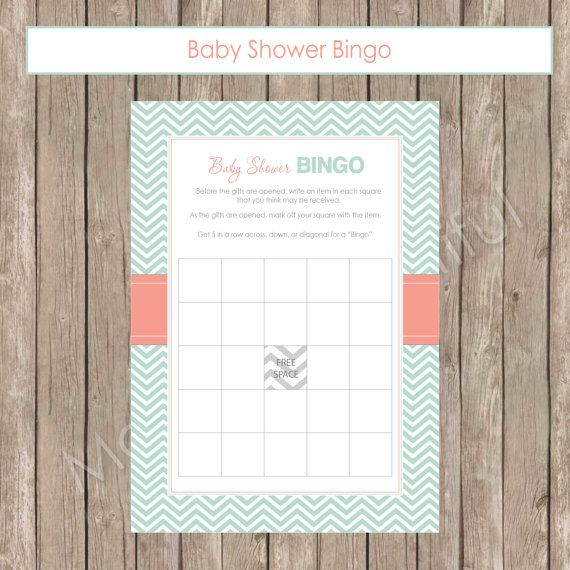 Baby Shower Bingo  Mint and Coral Baby Shower by ModernBeautiful, $6.50