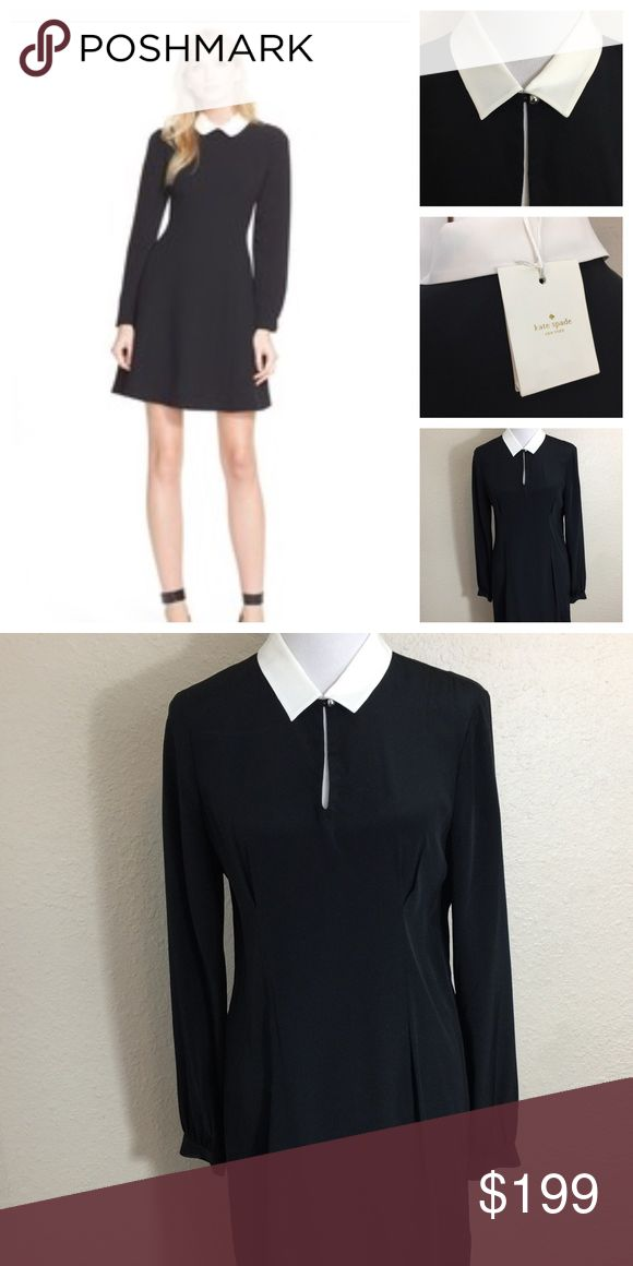 NWT Kate Spade Black Silk Sweet L/S Dress SZ 4 NWT Kate Spade Spectator Black Silk Sweet L/S Dress SZ 4 fully lined and fitted waistline. White collar. Zip closure. This is such a classy dress typical of Kate's feminine style. Beautifully made and attention to every detail. Flowing sleeves, buttons at neckline, brand new. Trade value is retail price. kate spade Dresses Long Sleeve