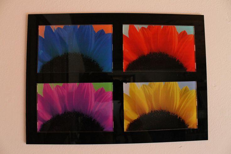 Cuadro base en acrílico negro, fotos en acrílicos independientes