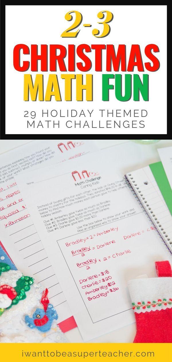 Christmas Math Activities 2nd Grade 3rd Grade Math Challenges