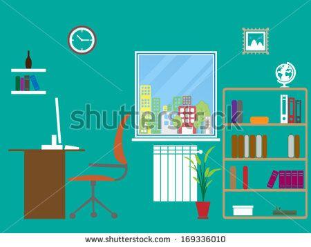 Office room interior - Vector format