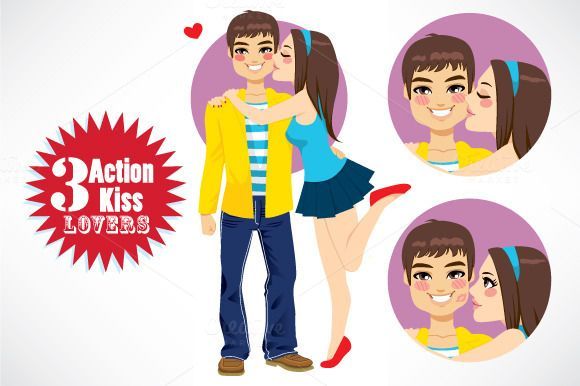 Check out 3 Action Couple Young Lovers Kiss by Kakigori Studio on Creative Market