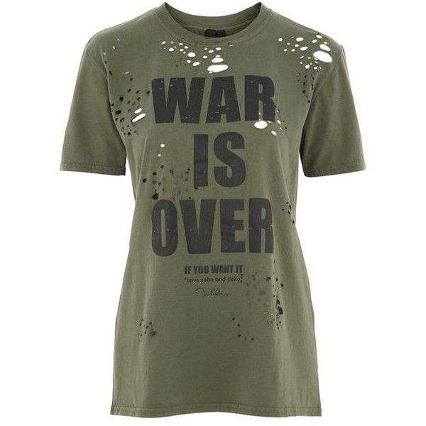 War Is Over Nibbled T-Shirt by and Finally (45 AUD) ❤ liked on Polyvore featuring tops, t-shirts, shirts, t-shirt's, camisas, leather shirts, ripped tee, green t shirt, green top and torn t shirt