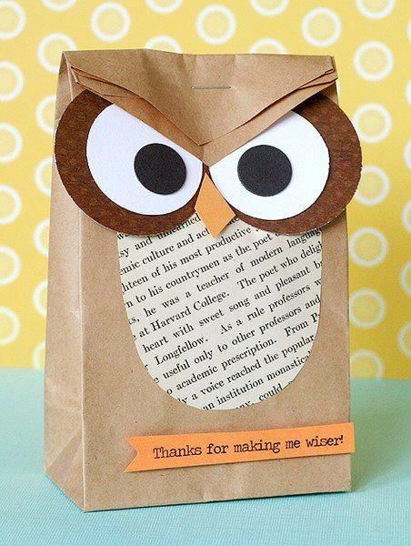 Owl gift bag is so clever, don;t you think? Thought this would be great for gifts for teachers!