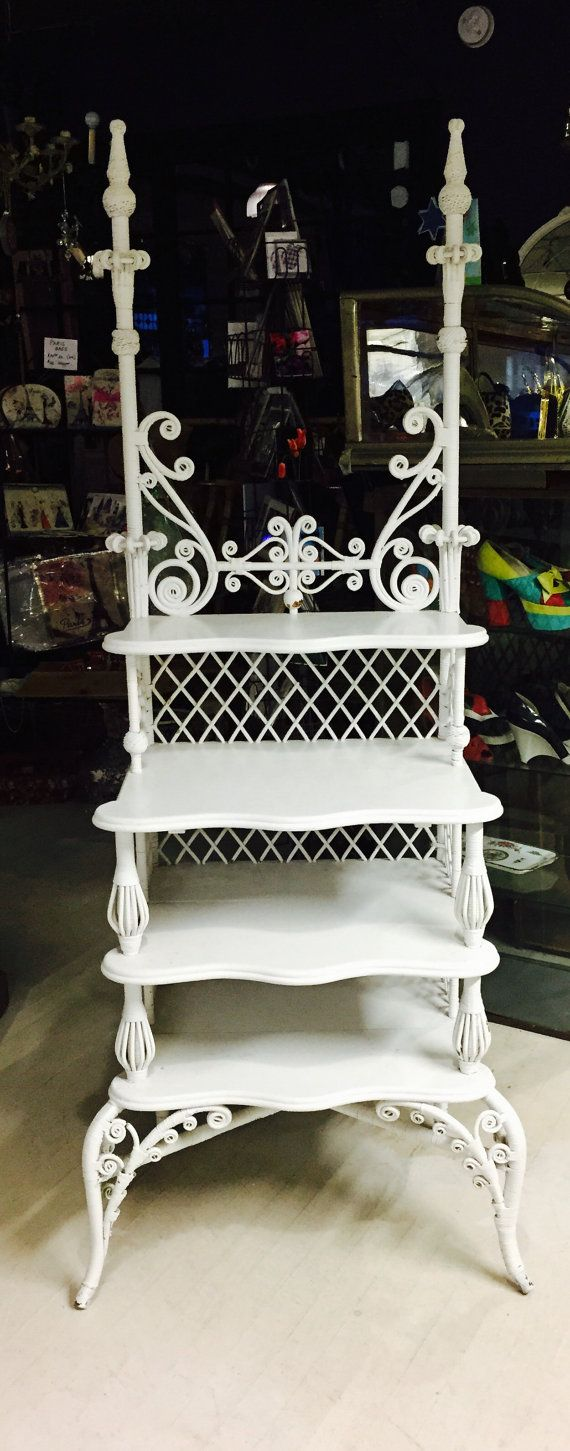 Victorian White Wicker Étagère Shabby Chic Decor Bedroom