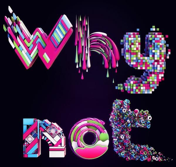 Typography by Nik AinleyInspiration, Nikainley, Digital Art, Typography Design, Whynot, Graphics Design, Types, Nik Ainley, 3D Typography