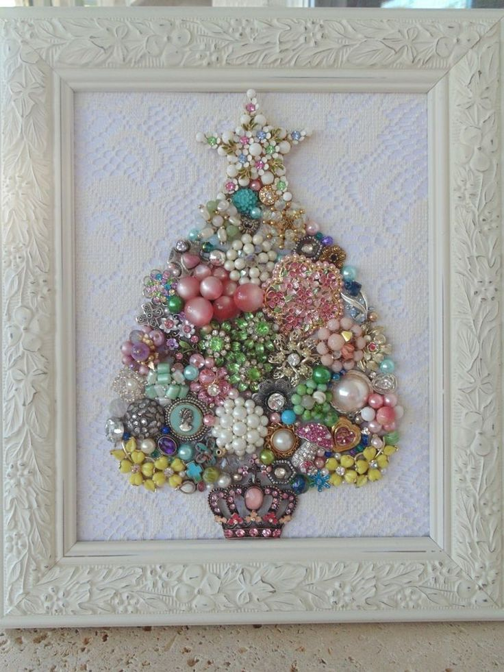 Shabby Cottage Vintage Jewelry Framed CHRISTMAS TREE ~PINK Crown & Roses~ #Handmade