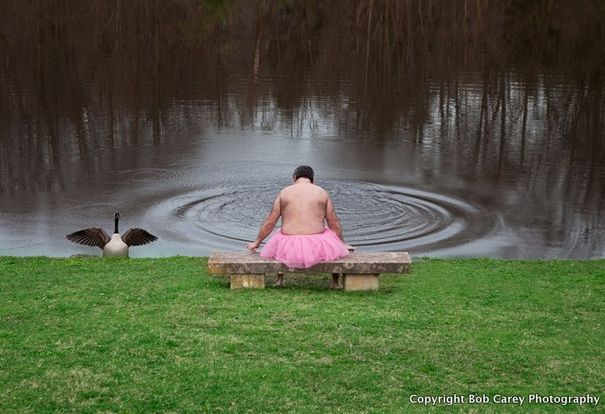 After Linda was diagnosed with breast cancer, her husband Bob began taking beautiful but totally ridiculous photographs of himself in a pink tutu.