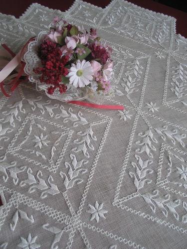 Vintage Hardanger Lace Embroidered Linen Tablecloth Tablecenter Centerpiece | eBay
