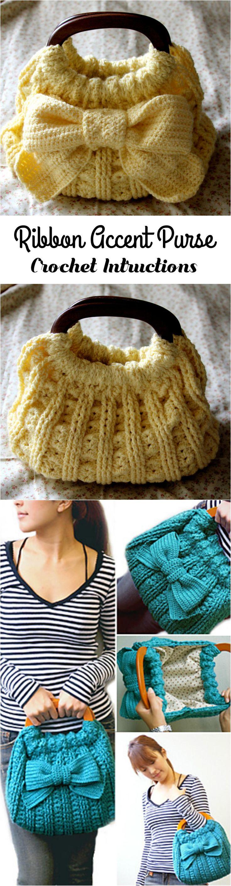 Crochet Ribbon Accent Purse