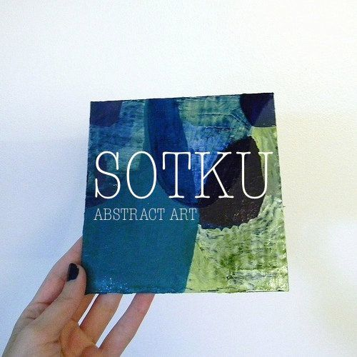 Small Abstract Painting On Cardboard Original Art by sotku on Etsy. Art by Rina Miriam Drescher