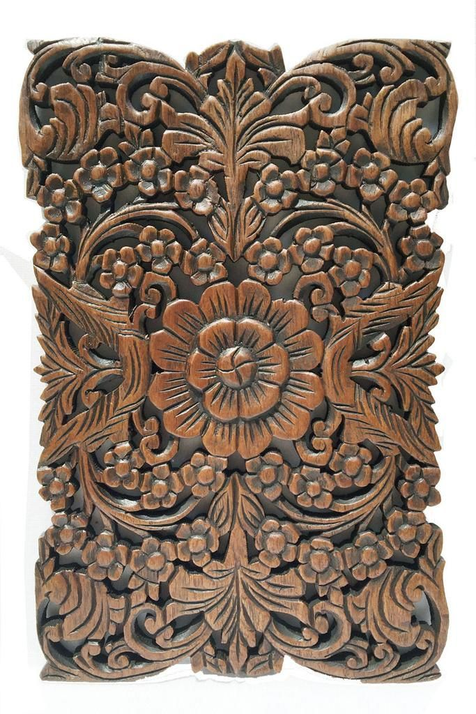 """Wood Wall Decor Lotus flower.Oriental Home Decor. Decorative Wall Panel Sculpture. Hand Carved Wall Art Decor Panel. Rustic Wall Decor. Tropical Home Idea Decor. Living Room Wall Decor. Brown Finish 12""""x17.5""""x0.5"""" #DIYHomeDecorLivingRoom"""