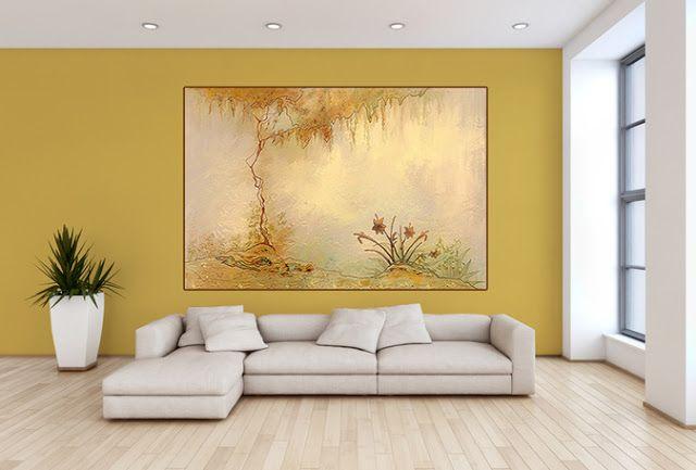 mur ocre jaune pour salon moderne