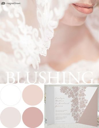 Wedding Color Trends! Blushing color scheme for Spring: White, Custom Blush, Custom Tan, and Custom Sugar. Check out more fantastic color combos at MagnetStreet.com!